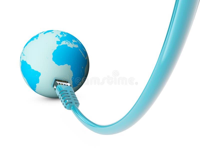 Cable de Ethernet, conexión a internet, ancho de banda El mundo en el web ilustración del vector