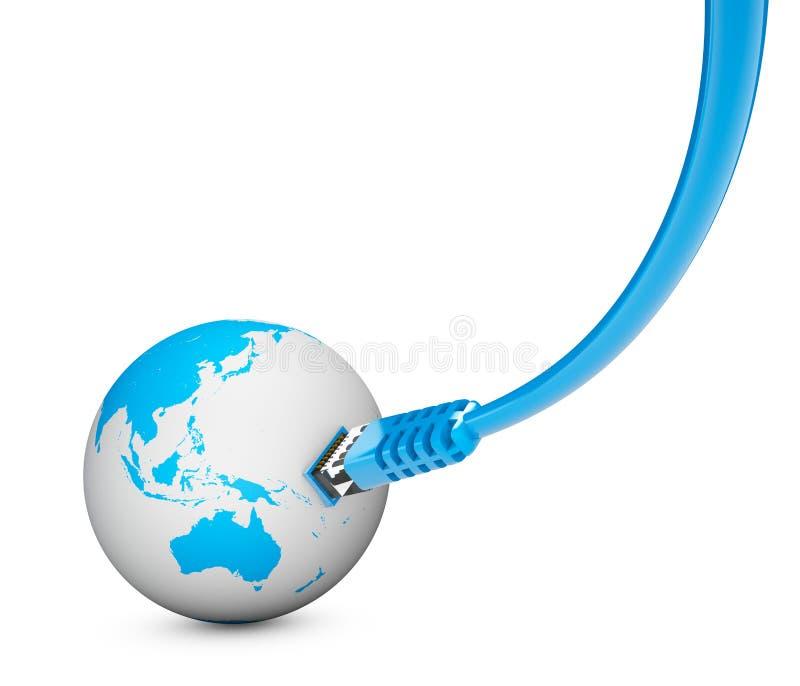 Cable de Ethernet, conexión a internet, ancho de banda El mundo en el web stock de ilustración