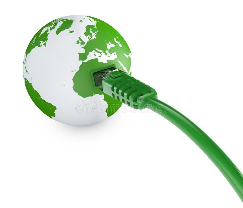 Cable de Ethernet, conexión a internet, ancho de banda El mundo en el web Conexiones del mundo, globo ilustración del vector