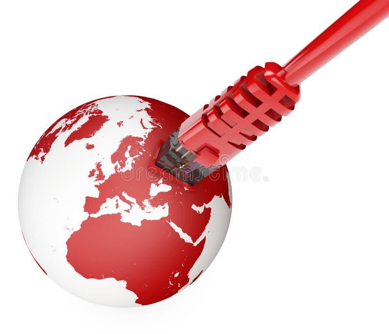Cable de Ethernet, conexión a internet, ancho de banda El mundo en el web Conexiones del mundo, globo stock de ilustración