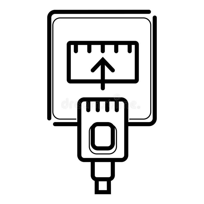 Cable de Ethernet e icono del puerto stock de ilustración