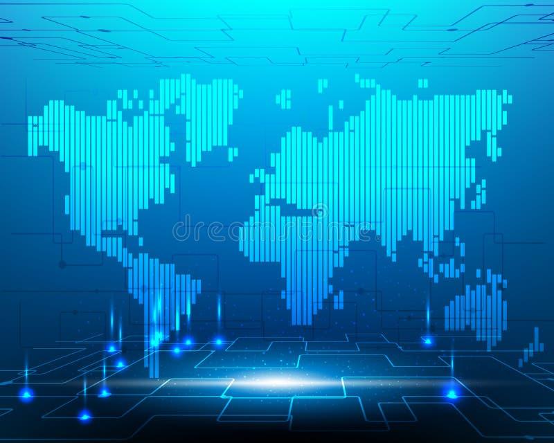 Cable de fribra óptica cibernético de Internet de la transformación de sistema del mapa del mundo libre illustration