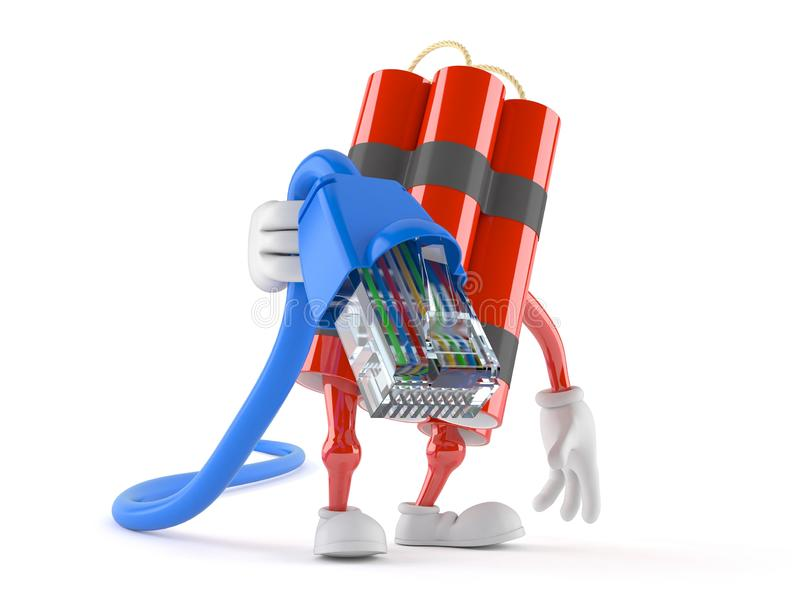 Cable de la red de la tenencia del carácter de la dinamita stock de ilustración