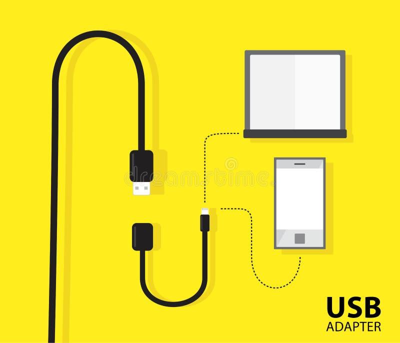 Cable del adaptador del USB para el cuaderno o el teléfono en fondo amarillo Dise?o del ejemplo del vector stock de ilustración
