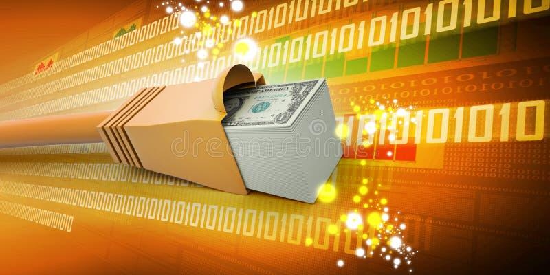Cable del Internet con los dólares imagen de archivo