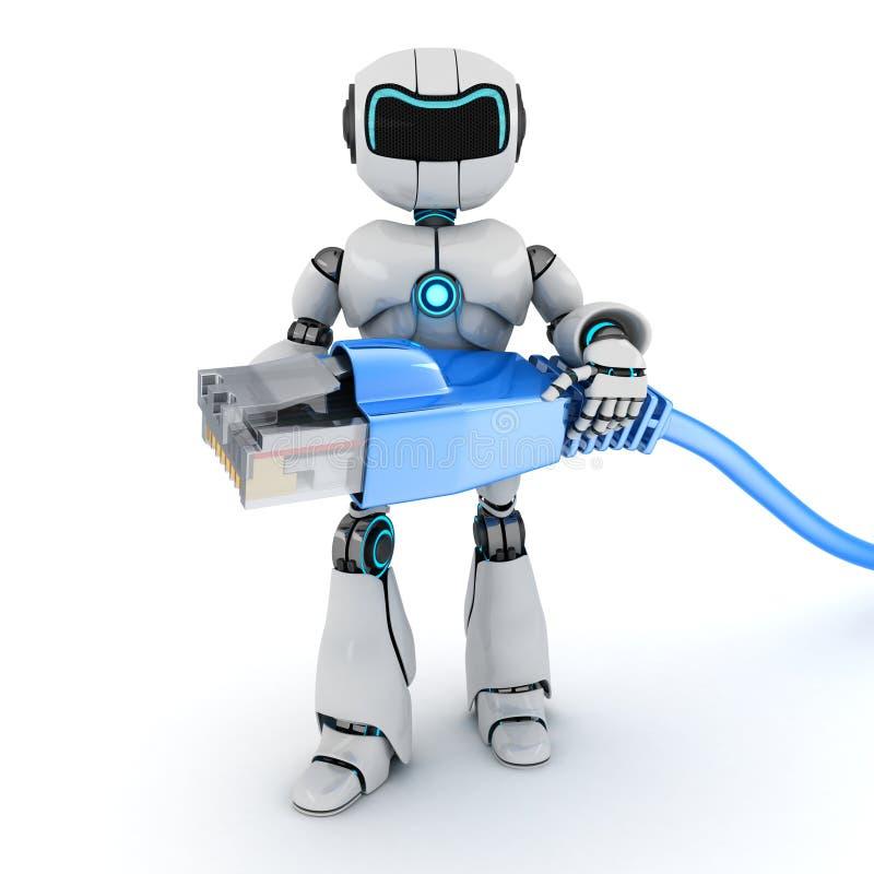 Cable del robot y del ordenador stock de ilustración