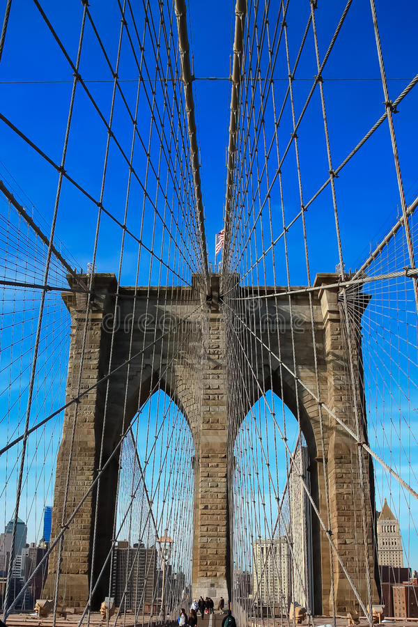 Free Cable Detail Of Brooklyn Bridge Royalty Free Stock Image - 19486396