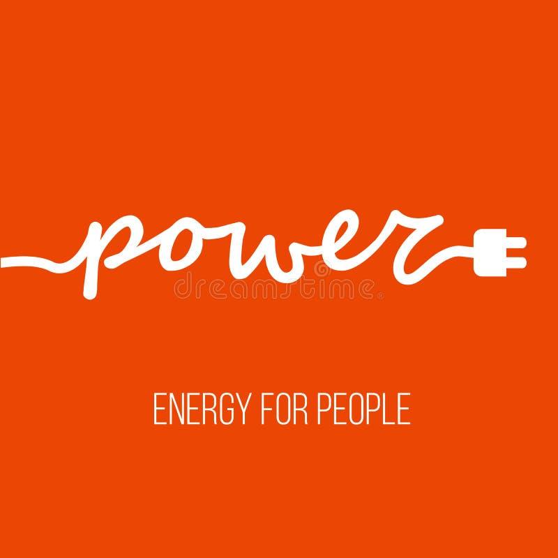 Cable eléctrico bajo la forma de ` del poder del ` de la palabra con el enchufe ilustración del vector