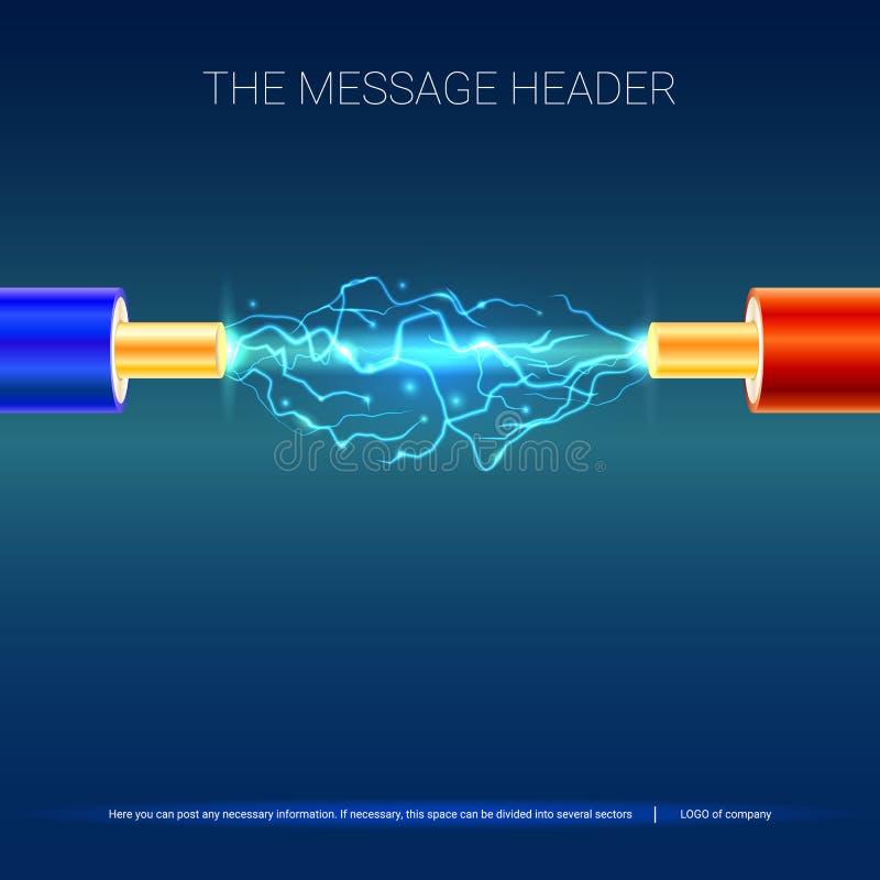 Cable eléctrico con las chispas Cable eléctrico de cobre en el aislamiento coloreado y arco eléctrico entre los alambres ilustración del vector