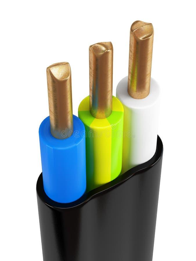 Cable eléctrico de tres bases con los alambres de cobre imágenes de archivo libres de regalías
