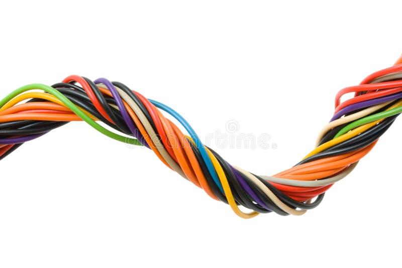 Cable multicolor del ordenador imagenes de archivo