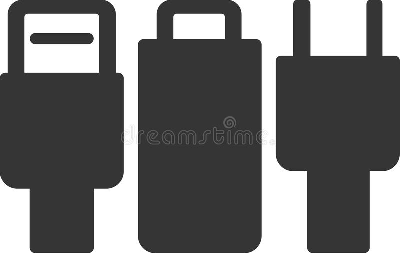 Cable Plugs Set - Tech and Power Connectors. USB, Lightning and AC. Label or Sign Element for Device Charging Station, Data Transfer and Electric Energy Supply royalty free illustration