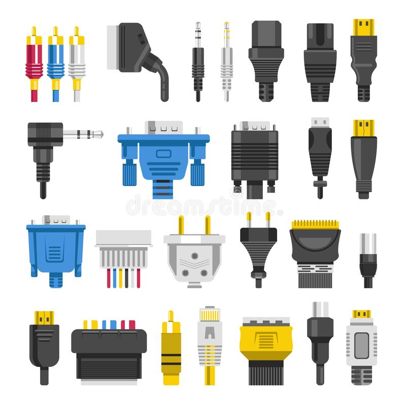 Free Cable Ports Jacks Different Digital Outputs Vector Flat Royalty Free Stock Image - 105757186