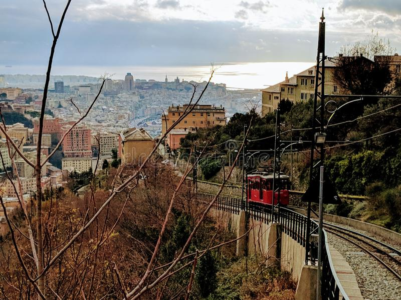 The cable railway of Genoa. The historical cable railway of Genoa royalty free stock image
