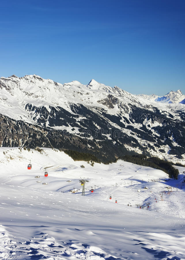 Free Cable Railway On Winter Sport Resort In Swiss Alps Royalty Free Stock Photography - 46067847