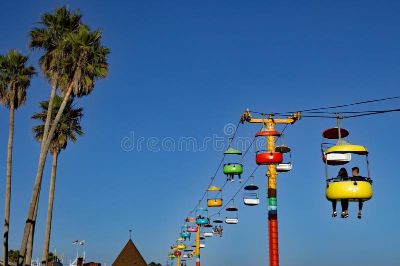 Cable railway at Santa Cruz Boardwalk California stock image