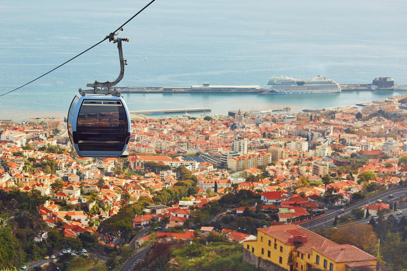 Cable ropeway cabin over Funchal, Madeira island, Portugal. Cable ropeway cabin over the town of Funchal, Madeira island, Portugal royalty free stock photo