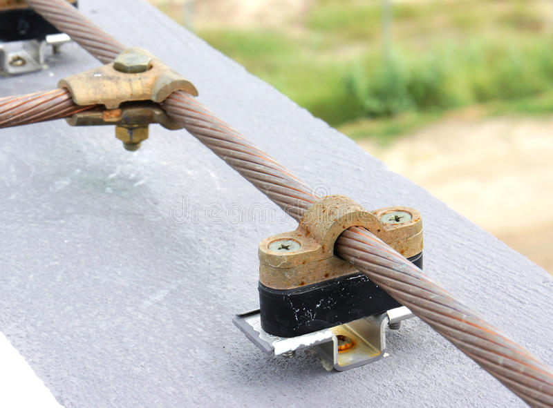 Cable Saddle Of Lightning Protection Stock Photo - Image of ...