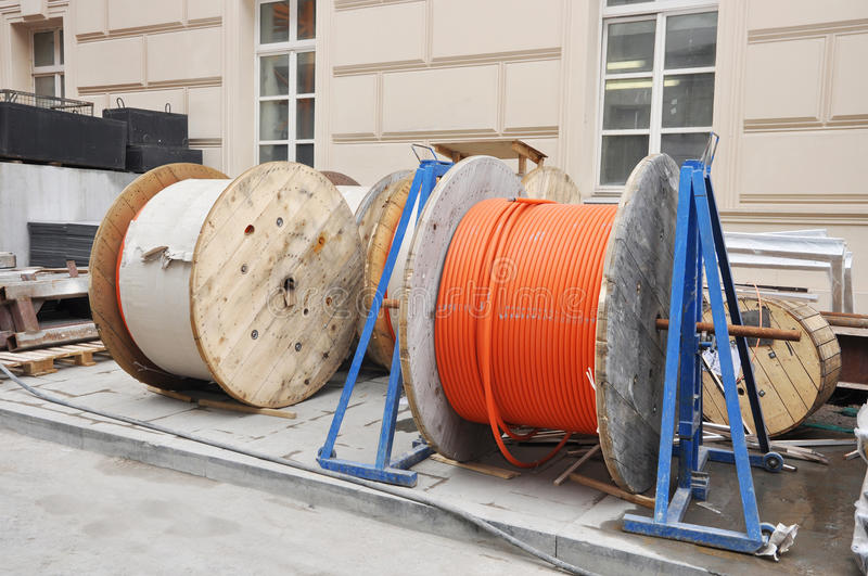 Cable spools on the building site. Moscow royalty free stock image