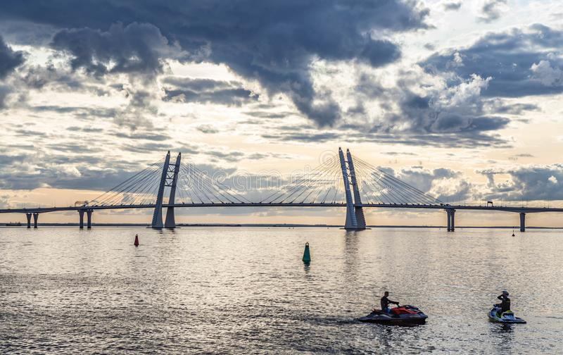 Cable-stayed bridge across the Gulf of Finland. Saint-Petersburg, Russia.  royalty free stock image
