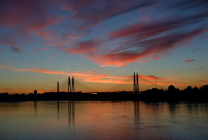 Cable-stayed bridge at evening. stock images