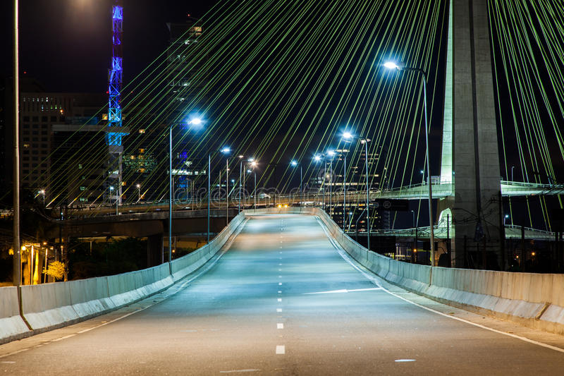 Cable stayed bridge at night. Empty avenue - cable stayed bridge in Sao Paulo - Brazil - at night royalty free stock image