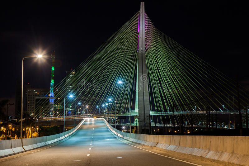 Cable stayed bridge at night. Empty avenue - cable stayed bridge in Sao Paulo - Brazil - at night royalty free stock photos