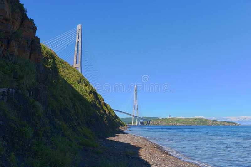 Cable Stayed Bridge Russky Bridge. Editorial Stock Image
