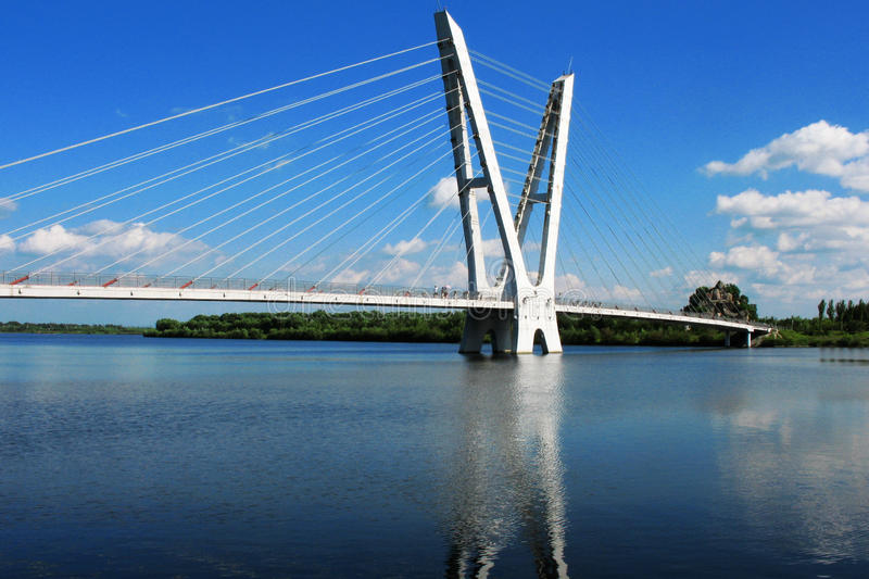 The cable-stayed bridges royalty free stock images