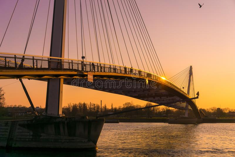 The Mimram footbridge, Kehl, Germany. The cable-stayed modern Mimram footbridge built in 2004 over the Rhine river connecting the cities of Kehl, Germany, and stock images