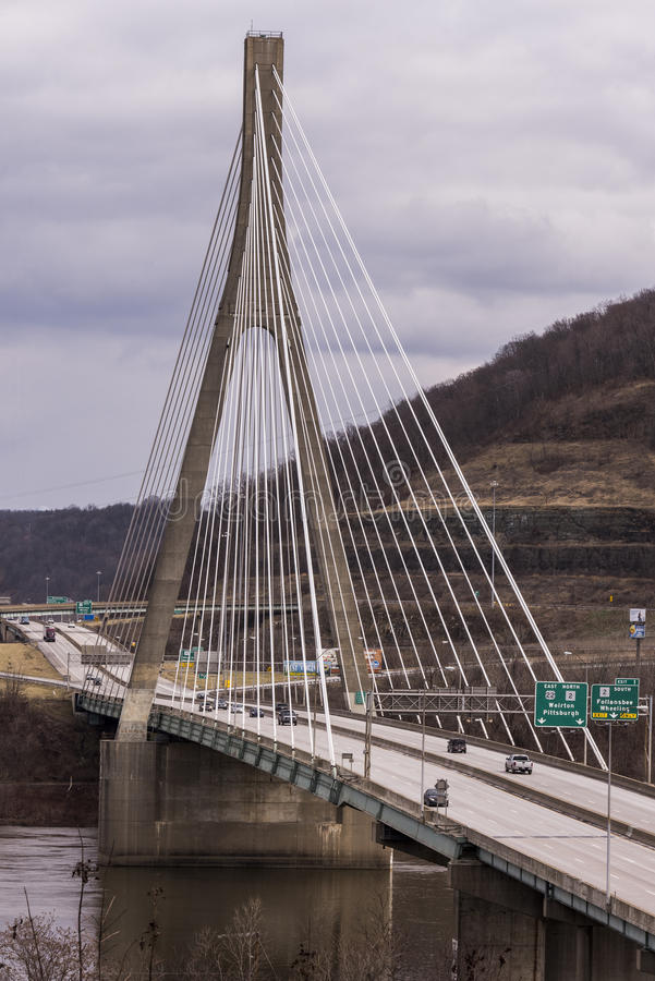 Free Cable-Stayed Suspension Bridge - US 22 - Ohio River Royalty Free Stock Photo - 85912075