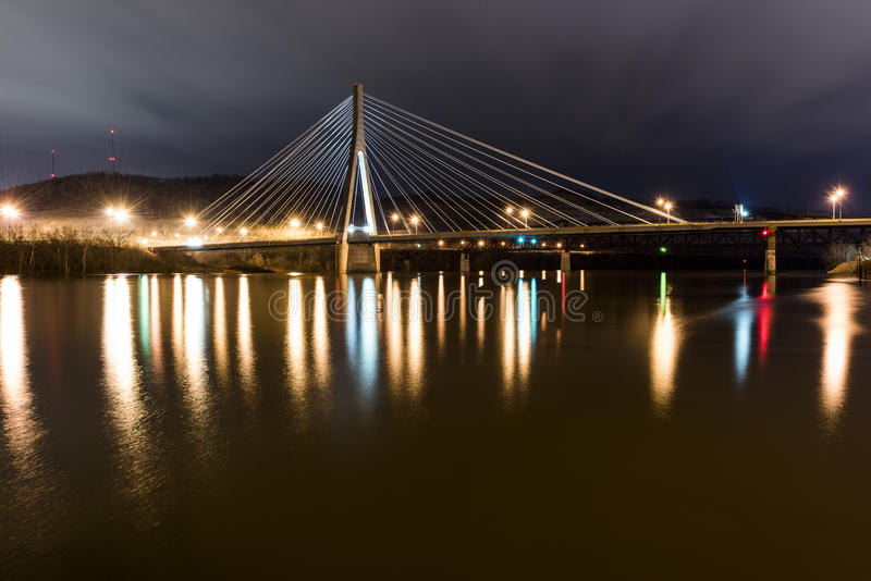 Cable-Stayed Suspension Bridge - US 22 - Ohio River stock images