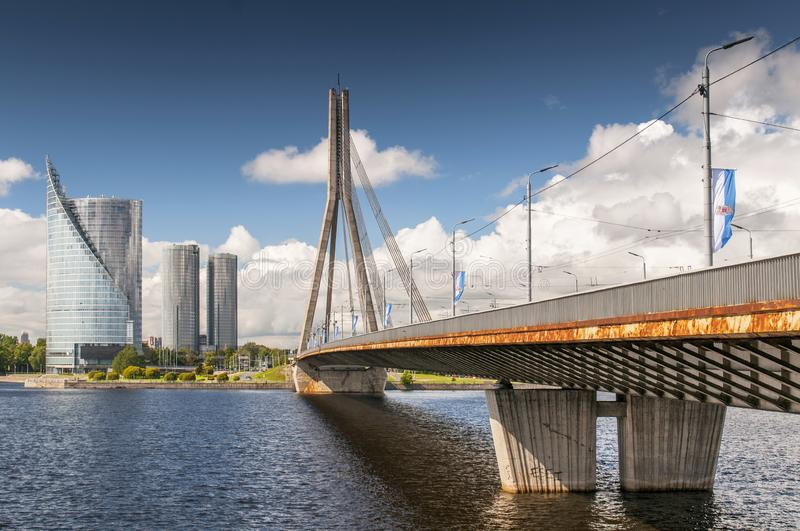 Cable stayed Vansu Bridge over Daugava river in Riga, Latvia.  royalty free stock photos
