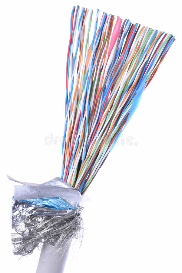 Cable of telecommunication network. Isolated on white background stock photo