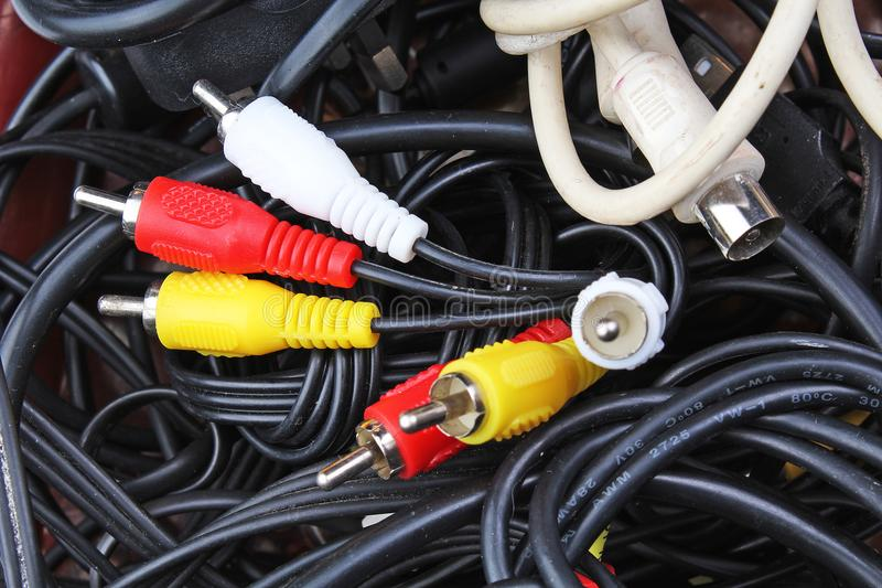 Cable texture. Cables background. Cable cord. Plug in audio video rca cables. stock photo