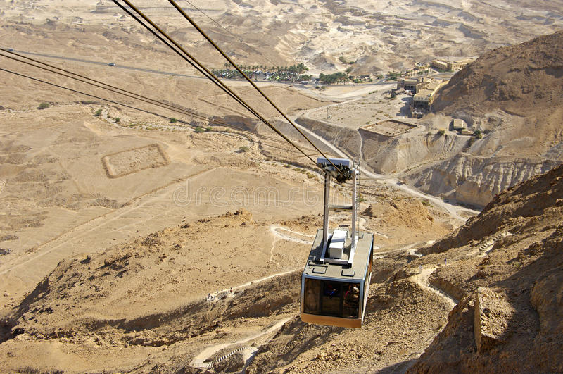 Cable to ancient fortress Masada. royalty free stock photo