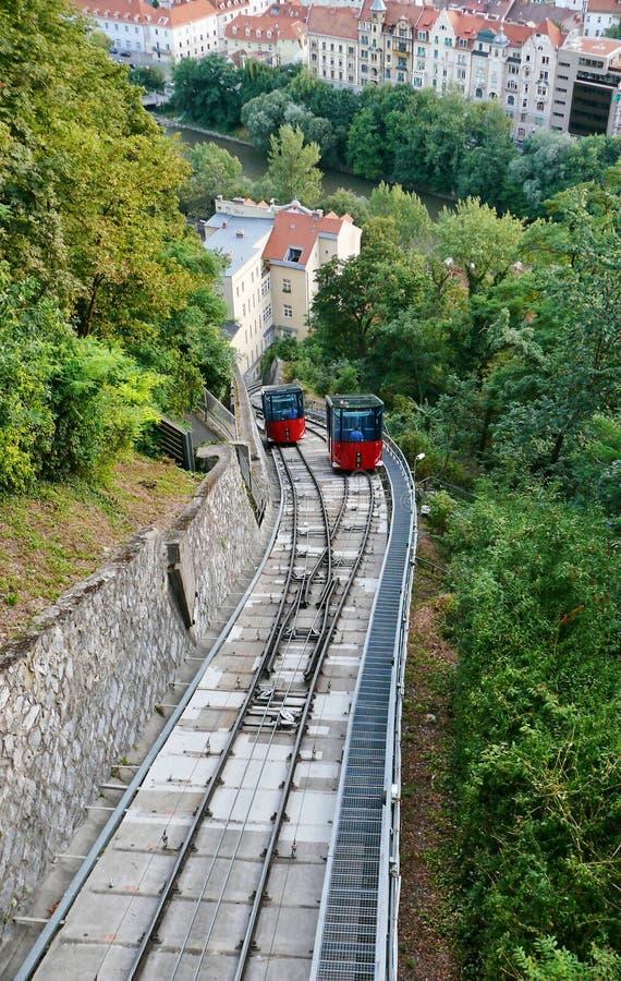 Cable train. And rails, Schlossberg,Graz,Austria stock images