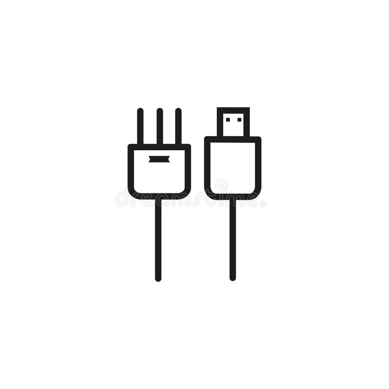 USB cable icon. Computer connector symbol royalty free illustration
