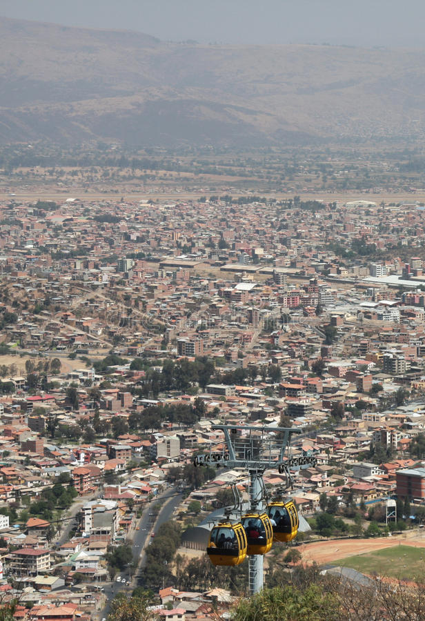 Cable way above cochabamba in bolivia. Yellow cable way above cochabamba in bolivia stock photos