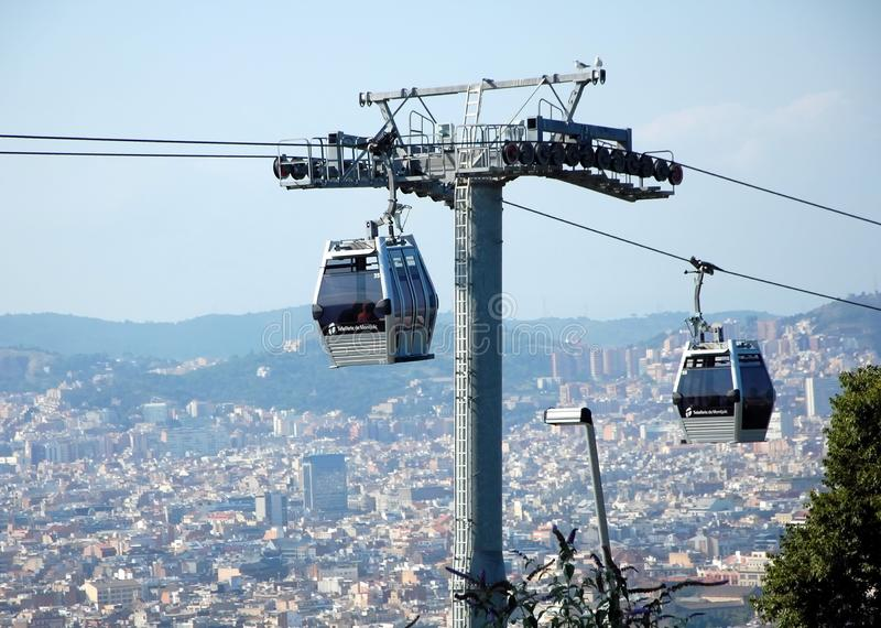 Cable way in Barcelona. BARCELONA, SPAIN - JULY 2, 2011 - Cable car Teleferic Montjuic in Barcelona, the capital of Catalonia, Spain royalty free stock photography
