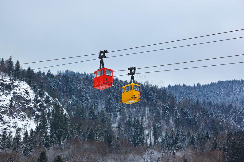 Cable way at mountains ski resort St. Gilgen - Austria royalty free stock images