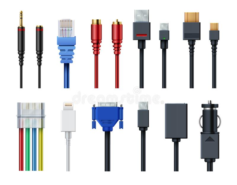 Cable wire computer video, audio, usb, hdmi, network and electric conectors and plugs vector set isolated vector illustration