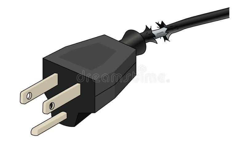 Cable y enchufe dañados de transmisión libre illustration