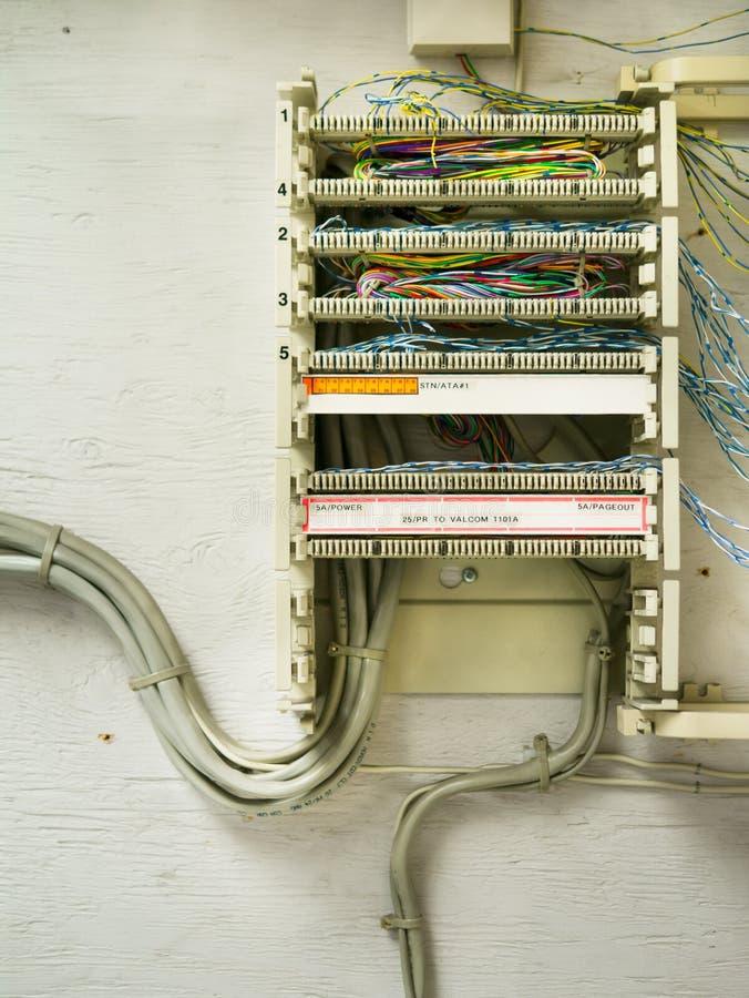 Cableado complejo del teléfono fotos de archivo