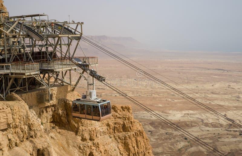 Cablecar auf der antiken Festung Masada in Israel lizenzfreie stockfotos