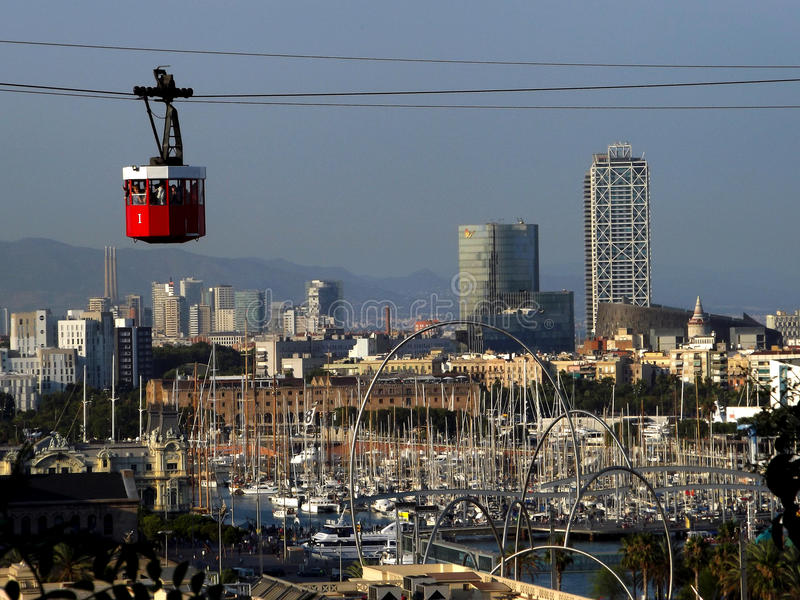 Cablecar in Barcelona royalty free stock images