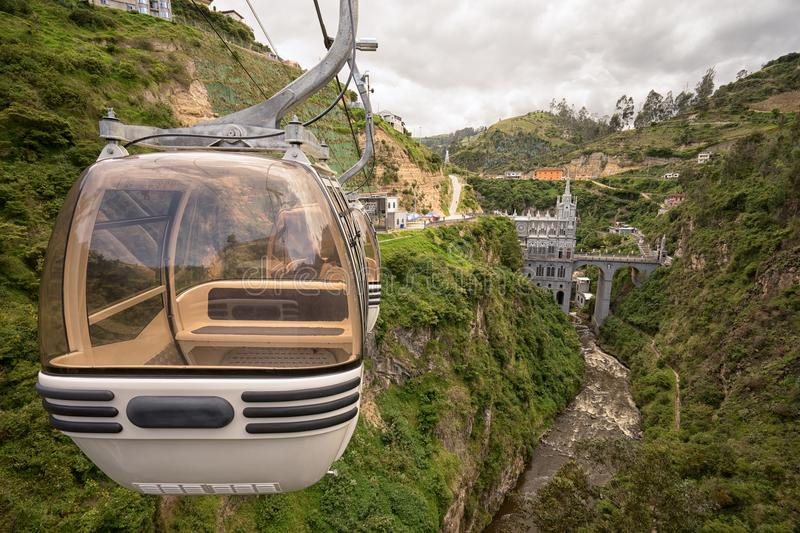 Cablecar ride to the Las Lajas sanctuary royalty free stock image