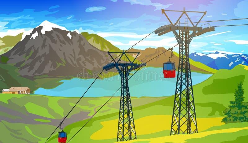 Cablecarril en las montañas suizas ilustración del vector