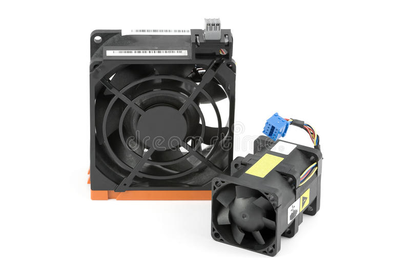 Cabled and Hot-Swap Cooling Fan. Large hot-swappable cooling fan and smaller cabled fan in the foreground. Isolated on white stock image