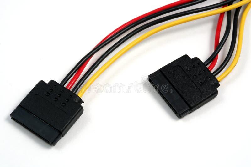 Cables électriques de SATA horizontaux photo stock